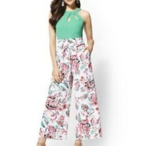 Cropped Pant Wide Leg Floral Stretch High Waisted